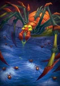 Гигантская королева пауков порождает полчища паучков, которые жаждут полакомиться трупами незваных гостей.